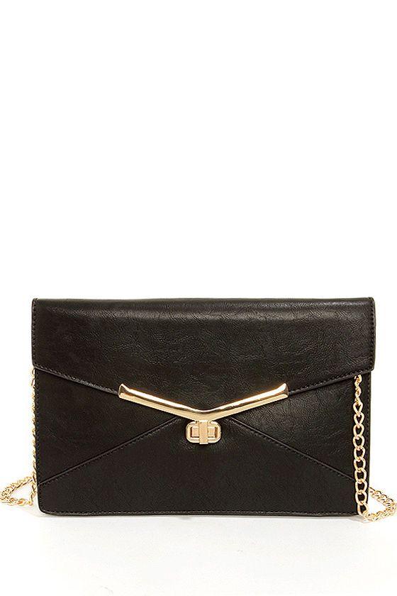 Cute Black Clutch - Envelope Clutch - Vegan Clutch - $43.00