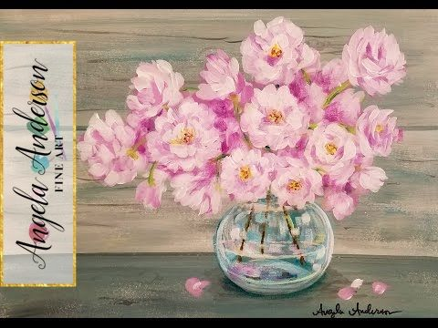 Easy Beginner Acrylic Painting Tutorial Pink Spring Flowers in Glass Vase LIVE - YouTube