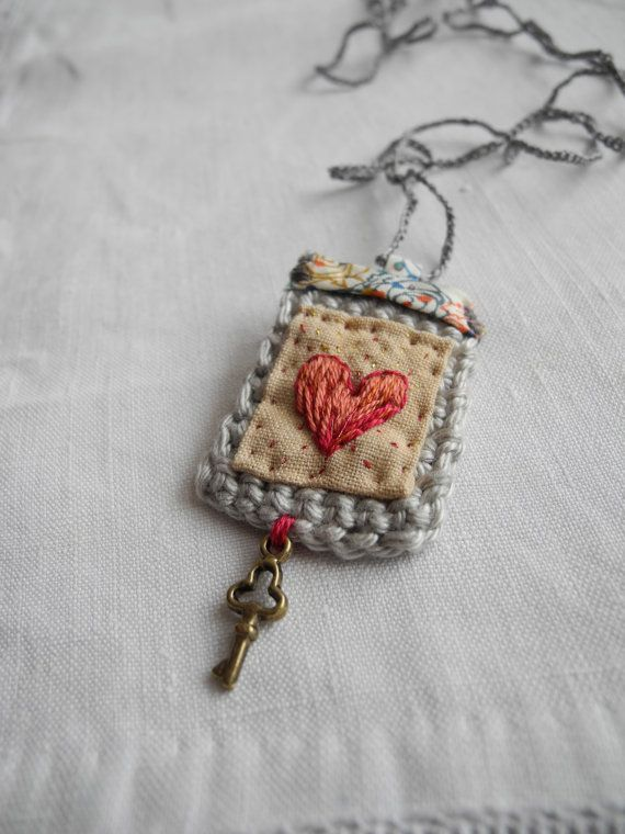 Inspiration :: Liberty fabric with embroidered heart, crochet, small key charm  . . . .   ღTrish W ~ http://www.pinterest.com/trishw/  . . . .