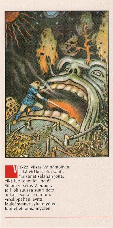 Väinämöinen enters Vipunen's mouth