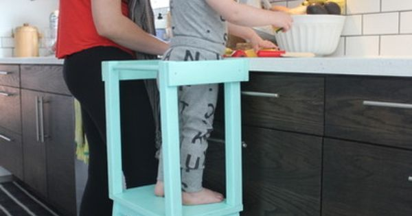 learning tower out of a Bekväm Step Stool from Ikea and some extra wood and paint. Eclectic by Stacy Levin   Baby Nora   Pinterest   Learning Tower, Step Stool…