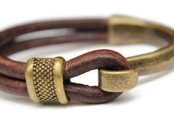 Pulsera para hombre, cuero pulsera bronce hombres, padrastros regalo, regalo de aniversario para los hombres, pulsera de hombre rústico, antiguo pulsera de bronce