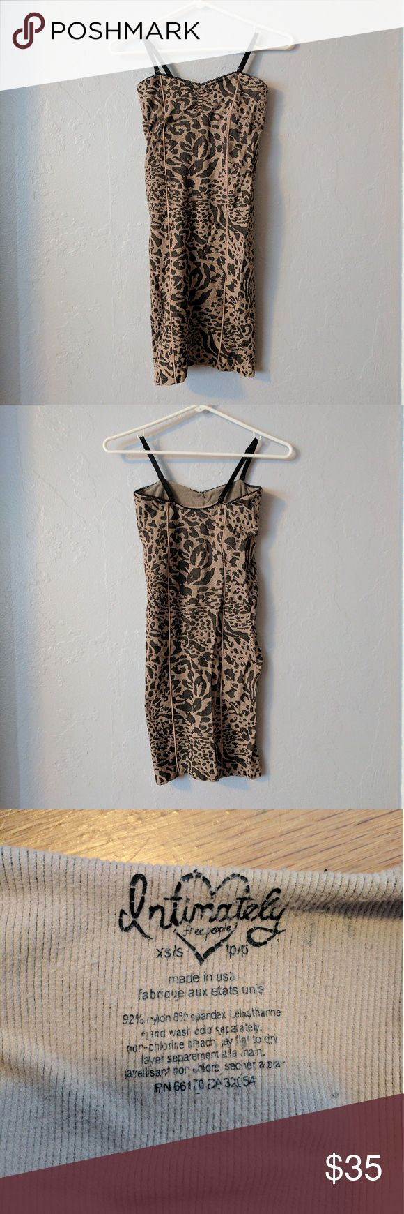 """Intimately Free People leopard print bodycon dress Super stretchy animal print dress. Straps are adjustable and removrable. The bodice has extra support lining. Length 26.5"""" from underarm to hem. Size is xs/s Free People Dresses Mini"""