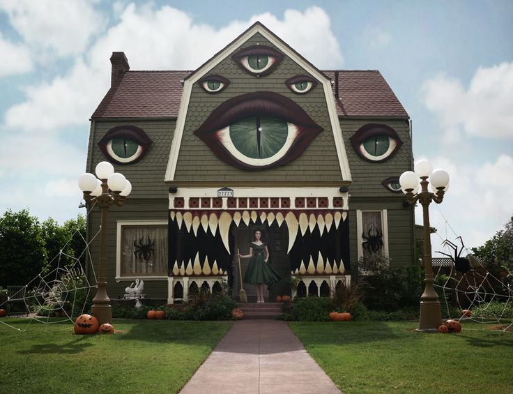artist transforms her parents home into a haunted monster house for halloween - Homemade Halloween House Decorations
