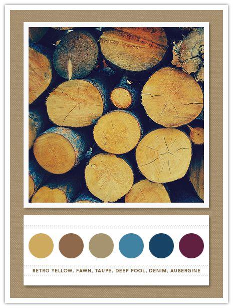 Color Card 059: Retro Yellow, Fawn, Taupe, Deep Pool, Denim, Aubergine