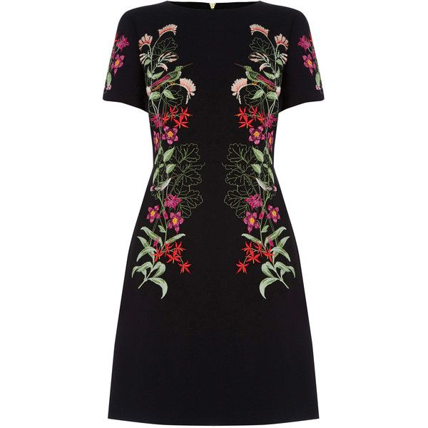 OASIS Botany Embroidered Dress ($110) ❤ liked on Polyvore featuring dresses, black, heart dress, embroidered dress, heart shaped dress, little black dresses and embroidery dress