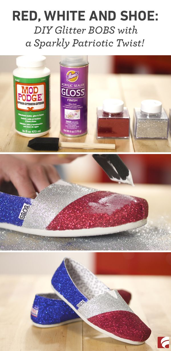 If there's one thing we love more than shoes, it's America. Okay, and maybe glitter. This DIY project combines all three—so needless to say, we're a little obsessed! Making your own pair of (patriotic!) glitter canvas shoes is super easy and super cute.