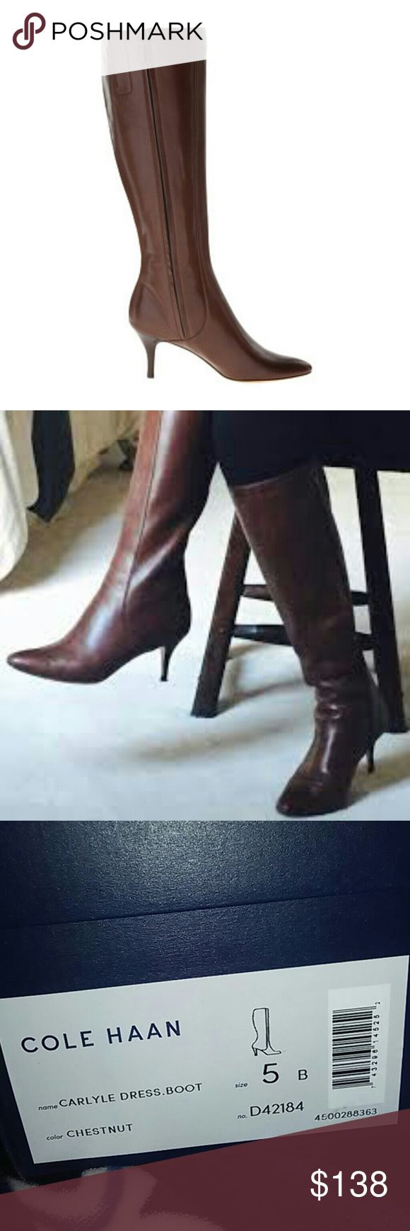 """Brand New in Box Cole Hahn Brown Knee-High Boots 5 ThisBrand New in box Cole Hahn Carlyle  dress boot in size 5 will be the finishing touch on your stylish look. Absolutely gorgeous and high-end. A fall must have!  Smooth leather upper.  Plain almond-shaped toe.  Side zip closure.  Full leather lining.  Fully padded sock lining.  Stacked heel.  Buffed leather sole.  Imported.  Measurements: Heel Height: 2 3⁄4"""" Calf Circumference: 14"""". Shaft: 16 1⁄2""""  Feel free to ask any questions. Bundle…"""