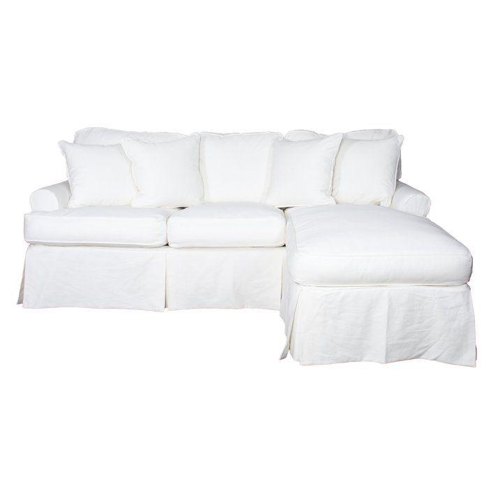 Plumley Reversible Sleeper Sectional Chaise Lounge Slipcover Slipcovered Sofa Cushions On Sofa