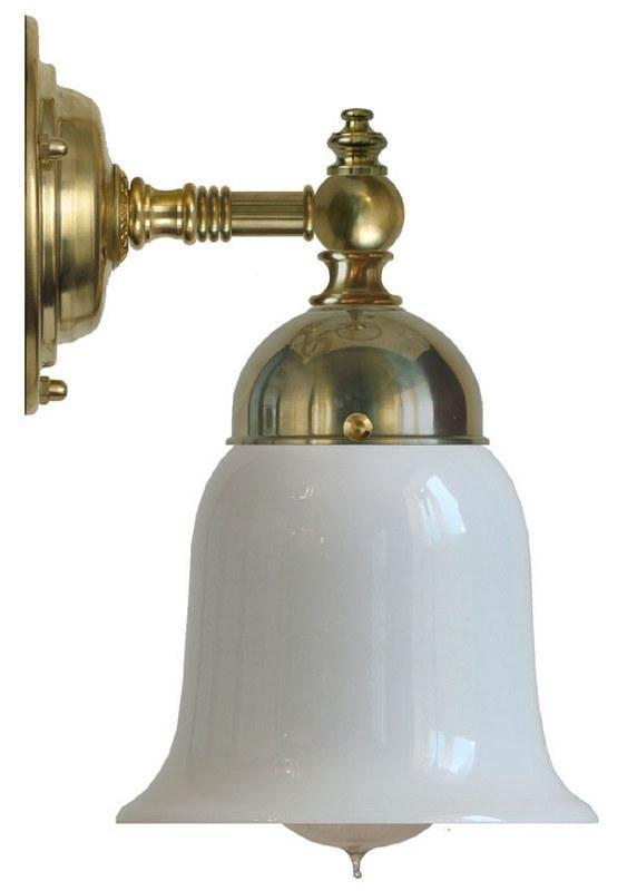 Badrumslampa Adelborg mässing - vit klockskärm - vägglampa - Sekelskifte
