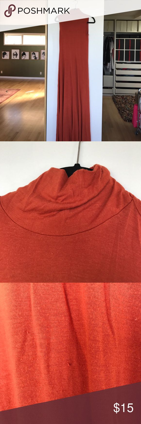 Rachel Pally Maxi Dress Size Small Orange Rachel Pally mock neck Maxi dress.  Super cute with a brown belt.  Has some pilling on entire dress. Rachel Pally Dresses Maxi