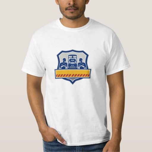 Train Engineers Arms Crossed Diesel Train Crest Re T Shirt. Illustration of train engineers with arms crossed looking at each other with diesel train on rail tracks in the background set inside shield crest done in retro style. #Illustration #TrainEngineersArmsCrossedDieselTrain