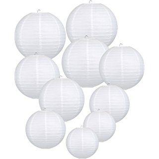 LIHAO weiße Papier Laterne Lampion rund Lampenschirm Hochtzeit Party Dekoration Ballform - (10er Packung) (verschiedene Größen)