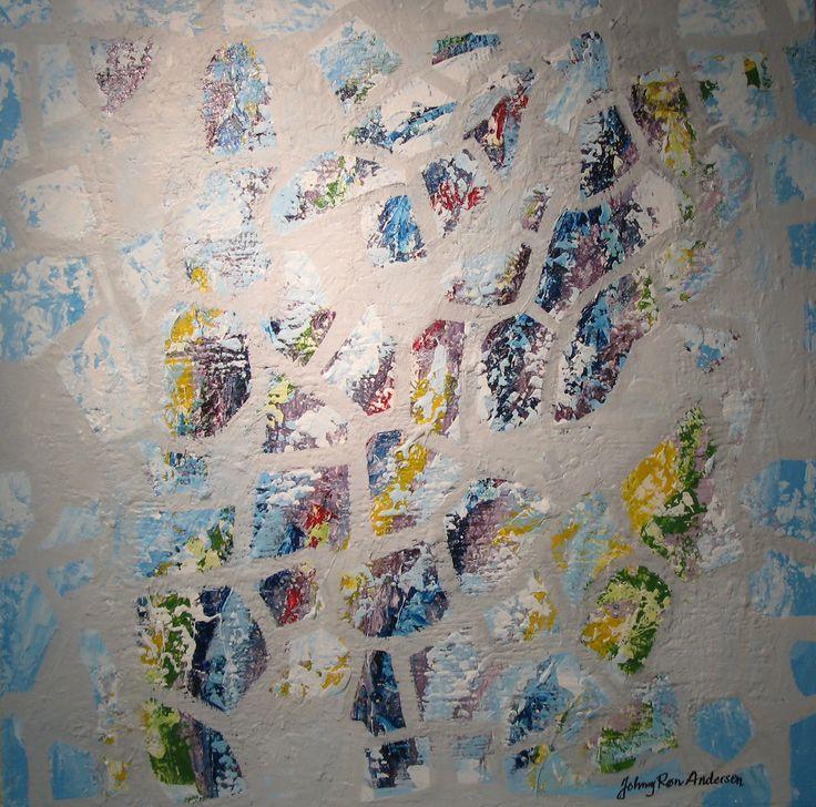 Maleri Glem meg ei2 80x80 cm