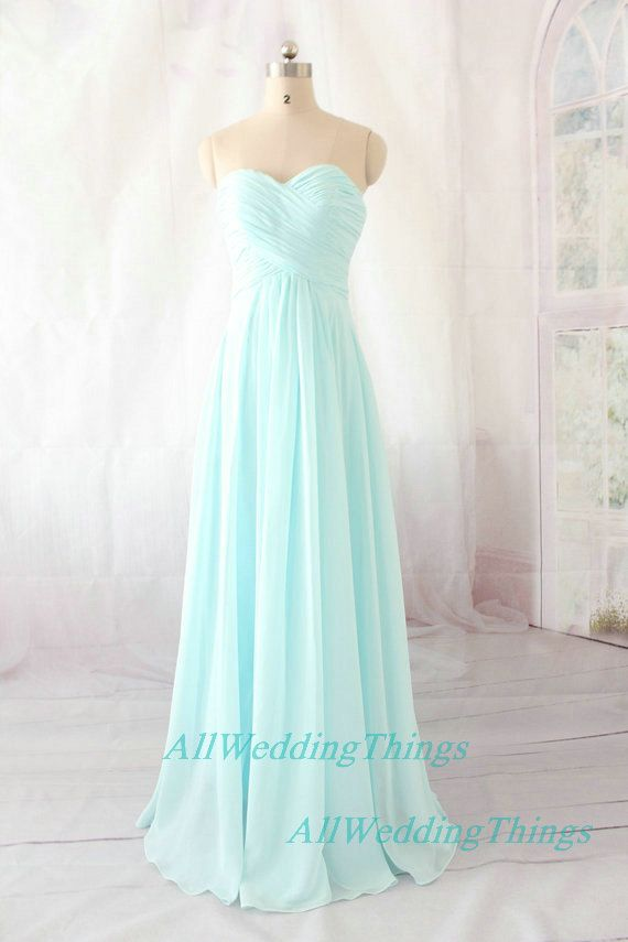 Pale Blue Bridesmaids Dresses : Light blue bridesmaid dress long prom evening