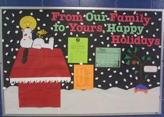 Happy Holidays bulletin board... Woodstock, Snoopy... a Peanuts Christmas from Educator Who!