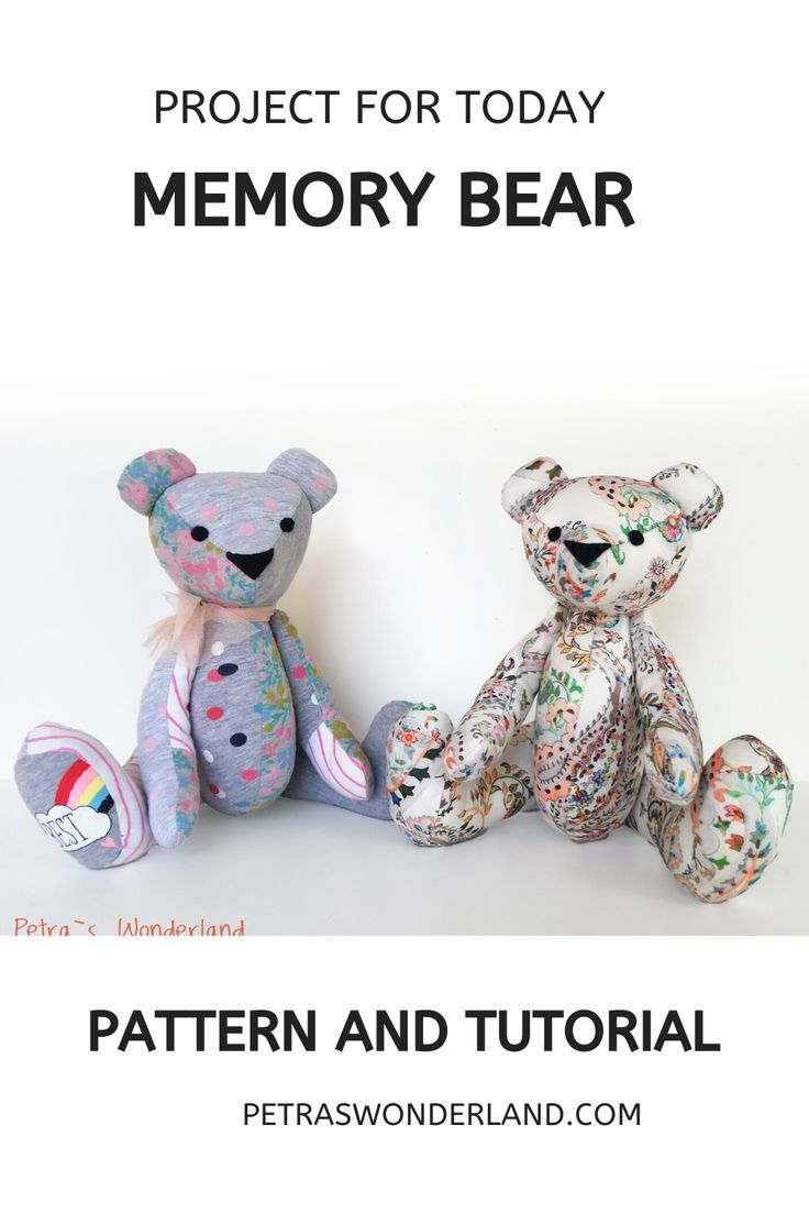 Button Jointed Sewing PATTERN **EMAIL PDF VERSION** Fabric Teddy Keepsake Bear