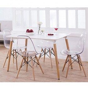 Conjunto Mesa Eames 1,20m e 4 Cadeiras Eiffel DSW sem Braço Incolor