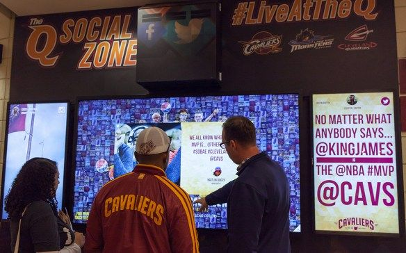 Social Media Wall: The Cleveland Cavaliers just wrapped a memorable season and included in the season's highlights was the new Q Social Zone at the Q Arena. The Cavs wanted an area for their fans to connect with social Instagram and Twitter content so they installed two 46-inch vertical screens and one 84-inch touch screen on the concourse by the entrance to section 122. These social Instagram walls and social Twitter walls reflect and connect whatever event is happening in the Q Arena.