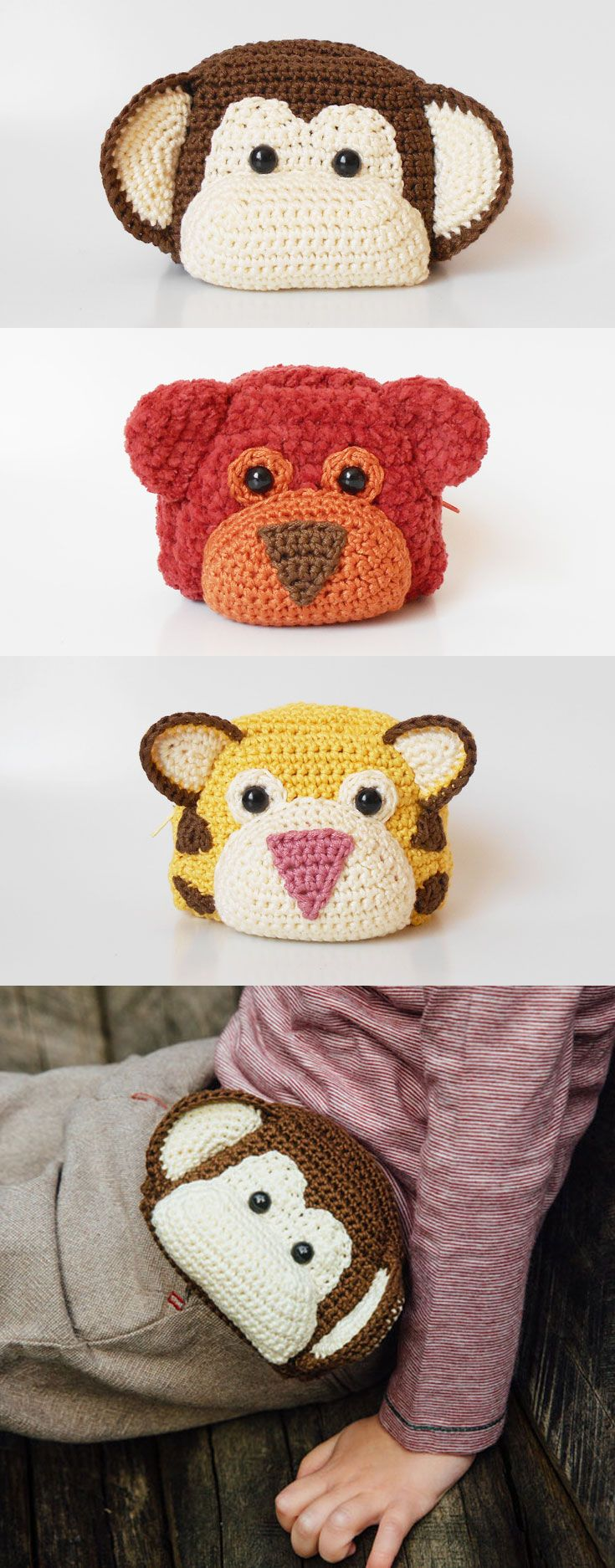 Cute animal waist bags, for kids to carry around little toys or a snack and run free. A child's life is filled to the brim with different activities and outings, and what better way to keep it all organized than with cute and soft amigurumi bags?