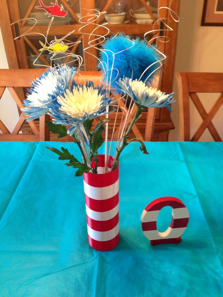Dr Seuss Baby Shower Centerpieces. I Wrapped Red And White Ribbons Around A  Clear Glass