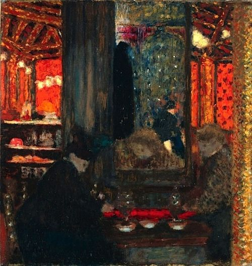 At the Cafe - Édouard Vuillard, 1897-99 oil on board, laid on cradled panel, 28.8 x 27.5 cm (11 5/16 x 10 13/16 in).