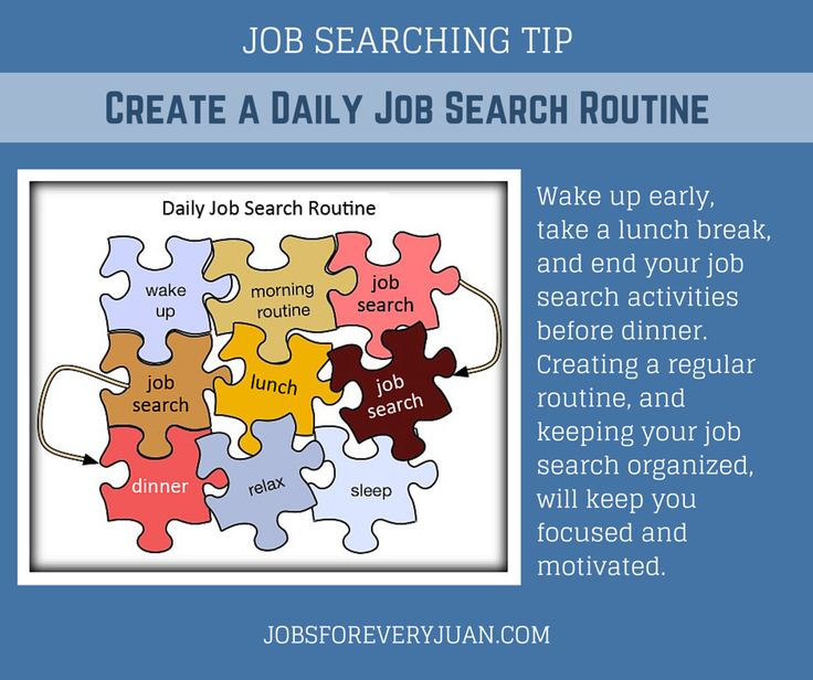 JOB SEARCHING TIP Create a Daily Job Search Routine Wake up early ...