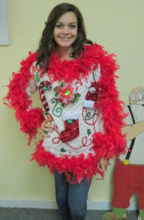 Show Girl Glam Light up Fiber Optic flower Tacky Ugly Christmas Sweater  Red Feather Foo Foo Boa womens sz S-M-
