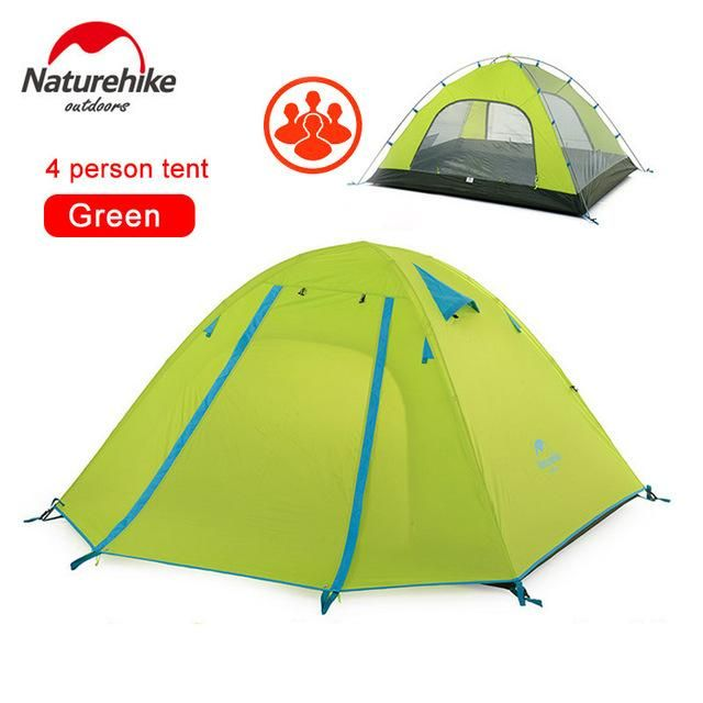 NatureHike 2-3-4 Person Tent Double Layer Outdoor Camping Hiking Hike Travel Play Tent Aluminum Pole Wind rope pegs
