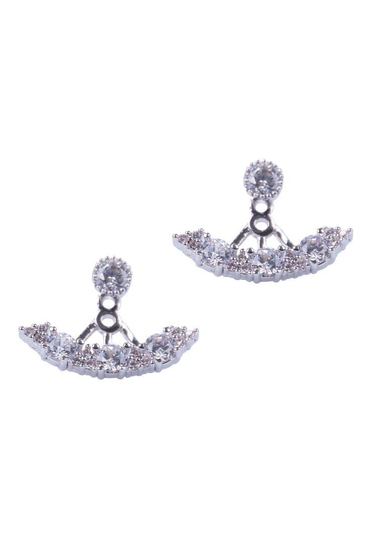 Simply Love 'Gold Half Circle' Two Sided Earings $25.65  Silver Half Circle With Zircons Two Sided Earings Women Fashion . Fashion Jewlery.  Made of Rhodium With Nickel.  sku: 18022