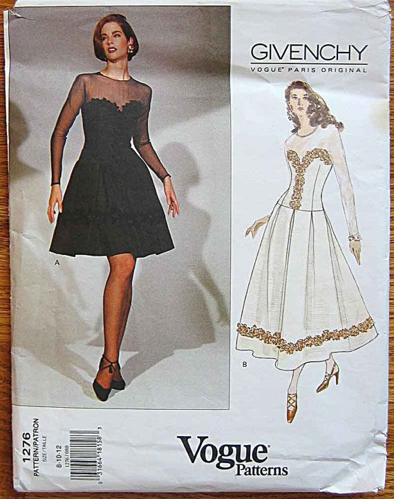Misses' Givenchy Dress in 2 Lengths Vogue 1276 Sewing Pattern UNCUT Sizes 8, 10, 12