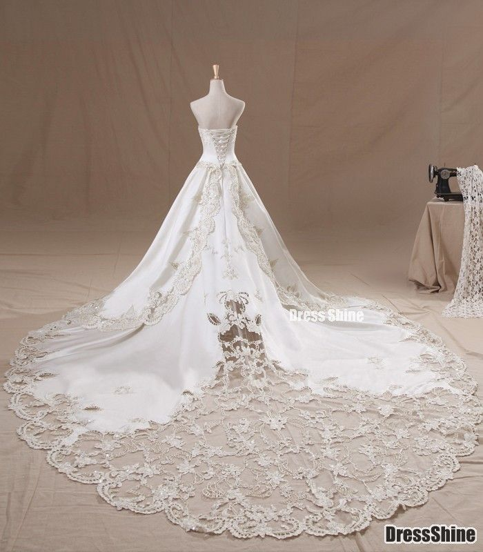 Gorgeous A-line Strapless Cathedral Train Satin and Lace with Pearls Luxury Wedding Dress - Wedding Dresses