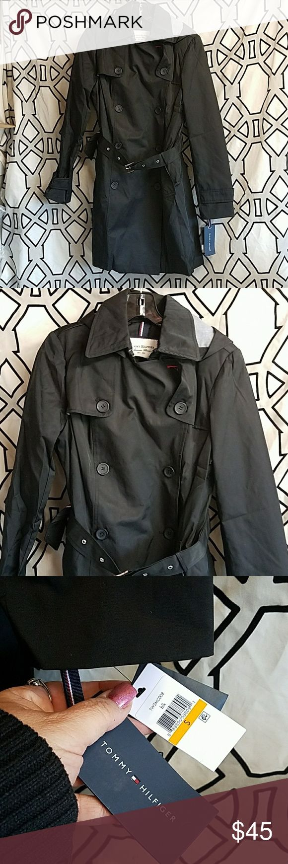 Tommy Hilfiger Black Trench Coat Small New with tags Black  Size Small  Total length is 38 inches Tommy Hilfiger Jackets & Coats Trench Coats