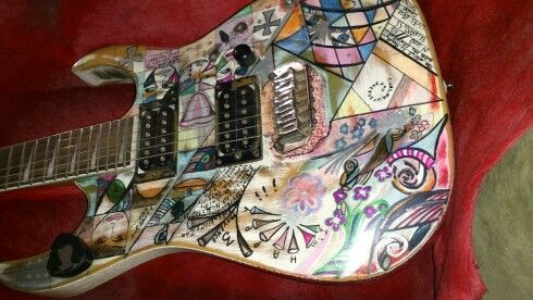 Handpainted custom guitar front. Made on order by email.