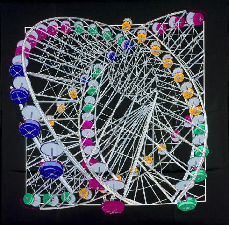 Hermès (fabricant) ; Dimitri Rybaltchenko (dessinateur), Carré : Grande roue, Paris, printemps-été 2006. MT 51402.2. Don Hermès, 2007 © Musée des Tissus, Pierre Verrier