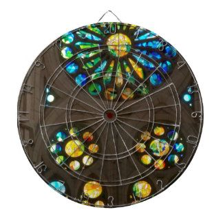 Church Cathedral Christ Wall Stained Glass Deco 99 Dartboard With Darts