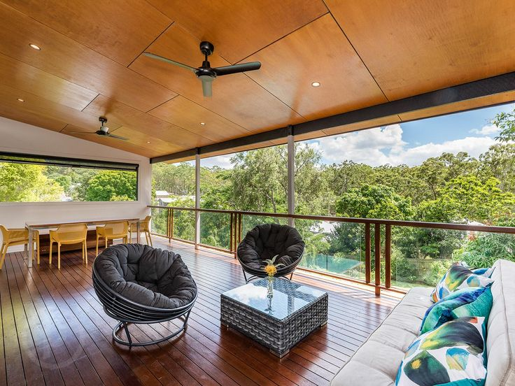 Marine ply ceiling, fans, lights, blinds, big view.....deck luxury :-)