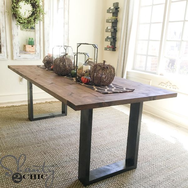Build a DIY Rustic Modern Dining Table with only 12 2x6x8 boards. That's $50 in lumber! Free plans and how-to video at www.shanty-2-chic.com.