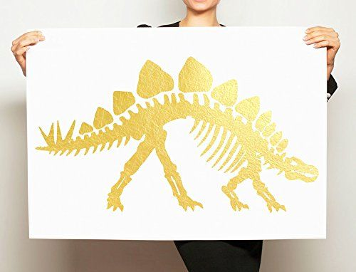 Large Gold Foil Stegosaurus Art Gold Leaf Dinosaur Artwork Modern Minimal Painting. Hand painted art makes the perfect gift for yourself or a loved one who appreciates original artwork. This simple, yet beautiful, dinosaur painting is hand foiled, with real golf leaf sheets. Since each piece is created by hand, it will be slightly different from the stegosaurus painting pictured above, your gold leafed piece will have unique, distinctive texturing and will be a one of a kind item! This...