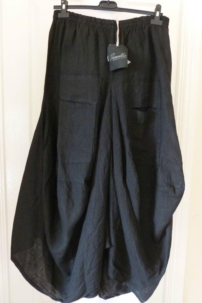 gorgeous Italian puro lino parachute skirt in black size L ...