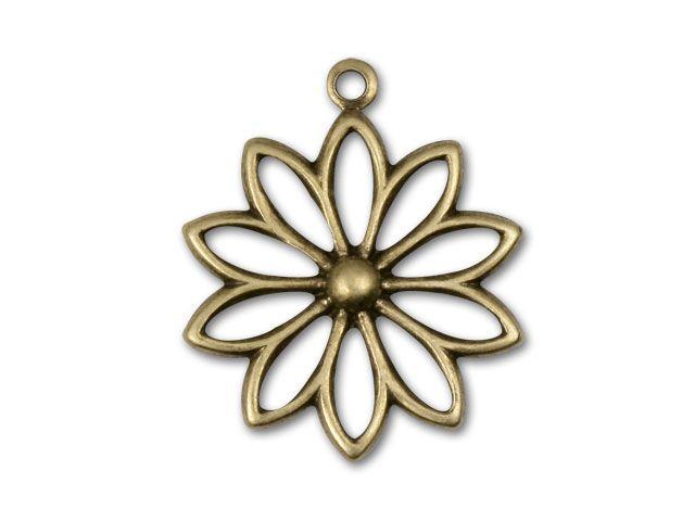 Antique Brass Flower Outline Charm