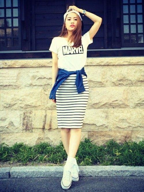 ロゴTシャツ×ボーダースカートはキャップを合わせてカジュアルに☆可愛くアクティブなキャップのコーデ☆スタイル・ファッションの参考に♪