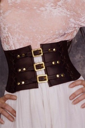 "As seen in B-METRO MAGAZINE - Exquisite Steampunk Brown Leather Corset Belt / Waist Cincher - Size MEDIUM to fit 26""-30"" waists"