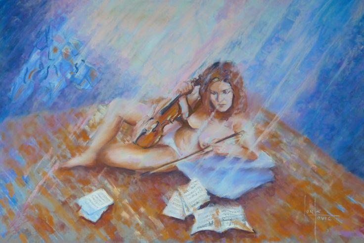 Anna et la musique, pastel 40 X 60 cm
