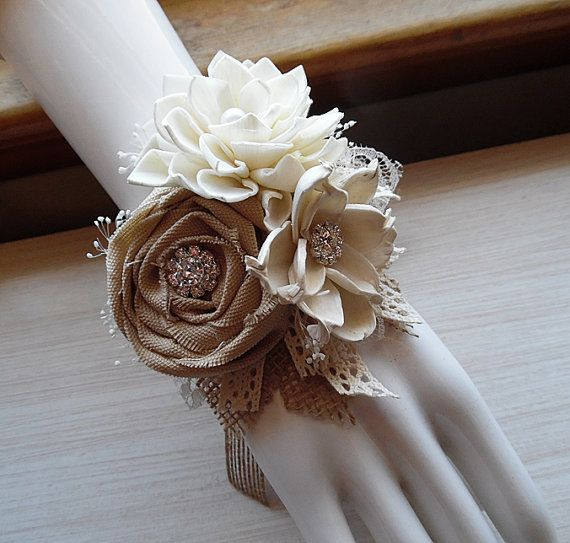 Wrist Corsage, Sola Flowers, Tan Rolled Cotton Roses, Rhinestones, Rustic Country Wedding. For matching boutonnieres see: https://www.etsy.com/listing/463789879 https://www.etsy.com/listing/487035949  These rustic style corsages are made to fit almost any theme, rustic, country, vintage and shabby chic.