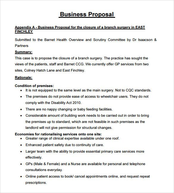 sample business proposal template free word pdf documents download