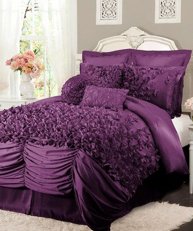 Take a look at this Purple Lucia Comforter Set by Lush Décor on #zulily today! $120-$130 !!