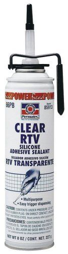 Permatex 85913-6Pk Clear Rtv Silicone Adhesive Sealant, 7.25 Oz. Powerbead Can (Pack Of 6), 2015 Amazon Top Rated Silicone Adhesives #AutomotivePartsandAccessories