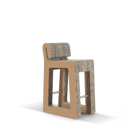 Carton Factory Seduta alta Hook Stool in cartone avana Lovepromo
