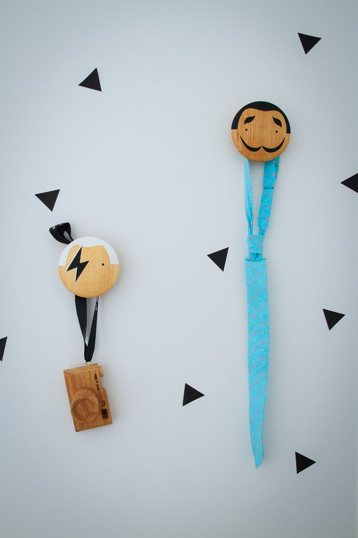 Wall Stickers and Wall Hooks create a fun atmosphere - wall Hooks by Lucie Kaas. Styling by Little Nook Interiors